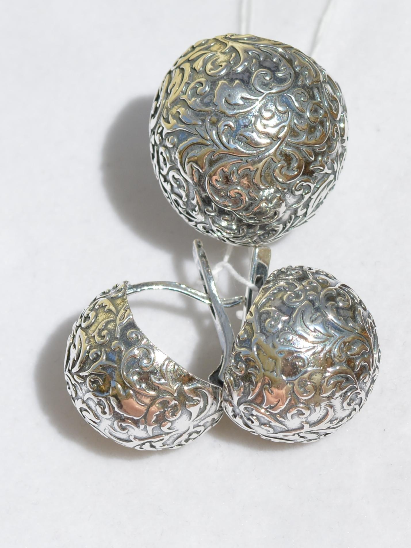 Серебряные украшения без камней (кольцо + серьги)