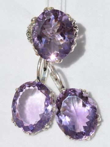 Серебряные комплекты- кольцо и серьги