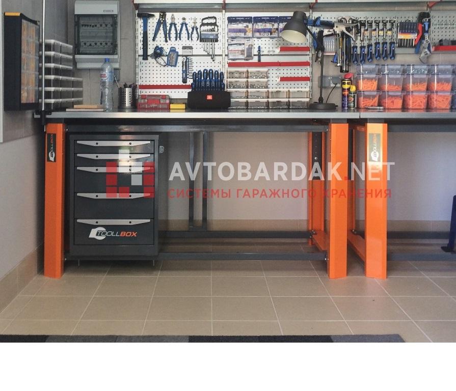 Усиленный металлический стол для гаража 1200х750 мм. Регулировка высоты 920-1120 мм