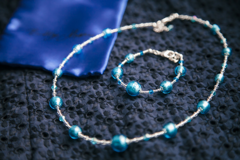 Комплект Примавера голубой (ожерелье, браслет)
