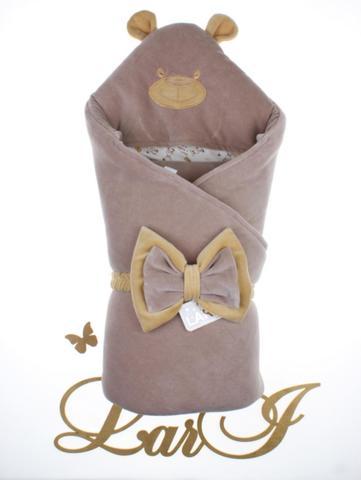 Велюровый конверт Одеяло Панда  (молочный шоколад)