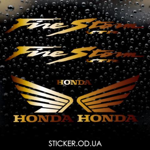 Набор виниловых наклеек на мотоцикл Honda VTR-1000-F 2000-2003 (золотистый металлик)