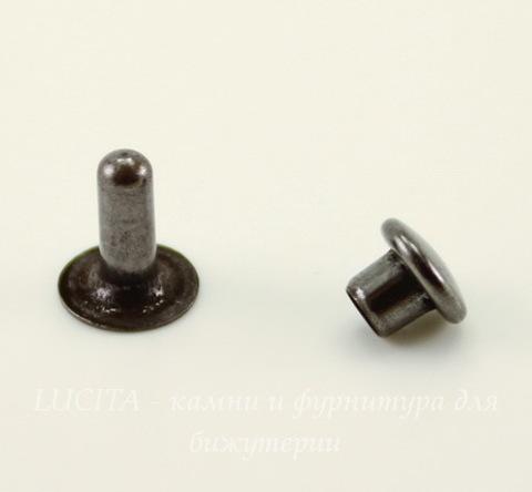Заклепка из 2х частей TierraCast 7,6х2,5 мм, 6х4 мм (цвет-черный никель)