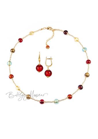 Комплект Carnavale Oro Piccolo (красные серьги на серебре, ожерелье)