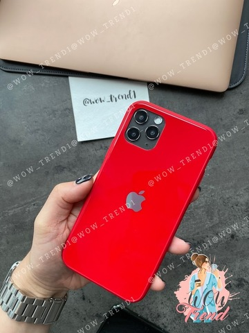 Чехол iPhone 11 Pro Glass Pastel color Logo /red/