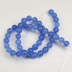 Бусина Жадеит (тониров), шарик, цвет - светлый синий, 8 мм, нить