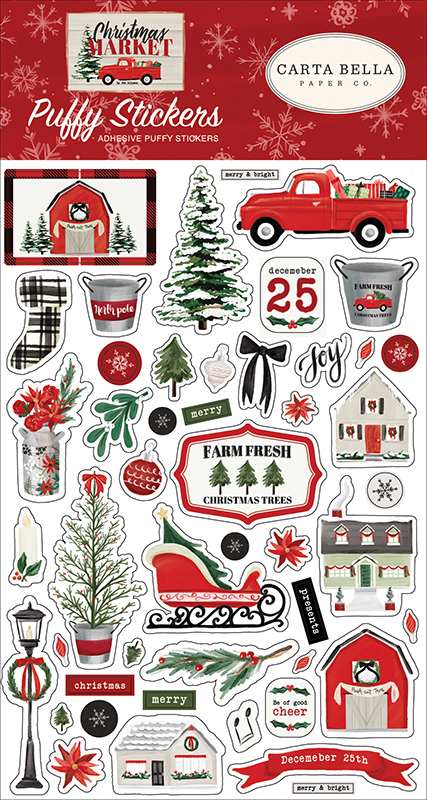Объемные стикеры Christmas Market Puffy Stickers