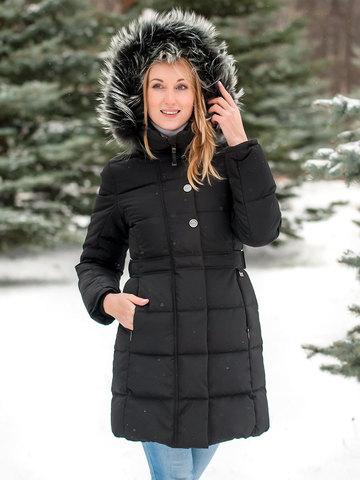 Joutsen пуховик Tiffany с мехом черный