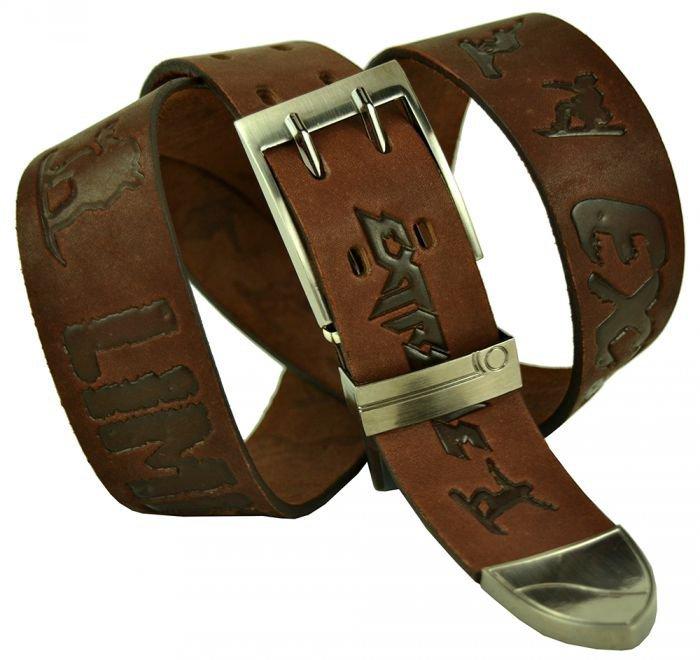 Ремень мужской кожаный коричневый 40 мм для джинс 40legend-036