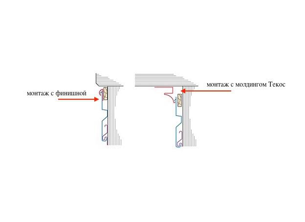 Молдинг отделочный Tecos сравнение установки с финишной планкой