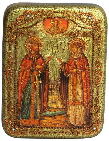 Инкрустированная рукописная икона Петр и Февронья 20х15см на натуральном дереве в подарочной коробке