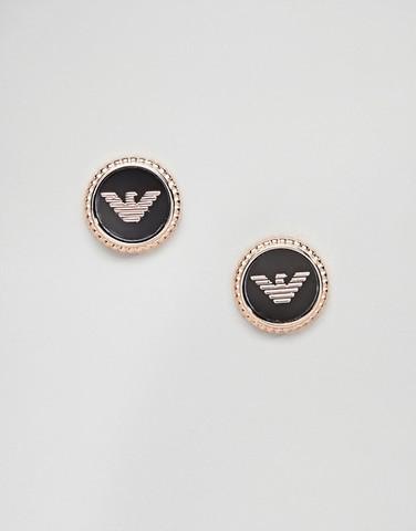 Серьги-гвоздики цвета розового золота с логотипом Emporio Armani
