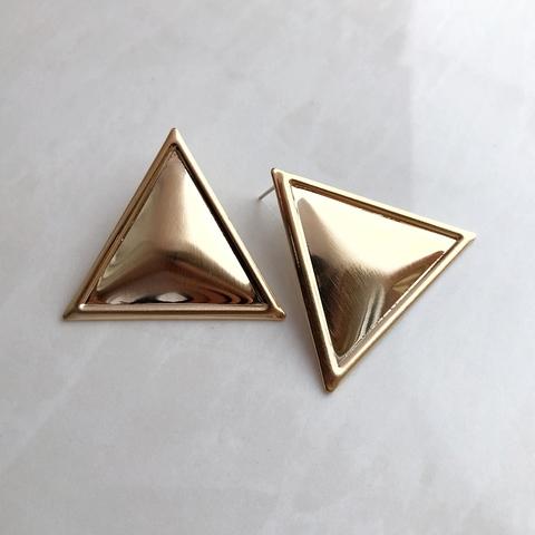 Серьги Золотой Треугольник, позолота