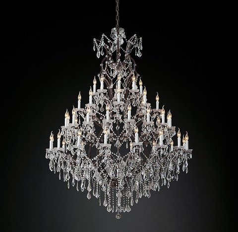 19th C. Rococo Iron & Clear Crystal Round Chandelier 59