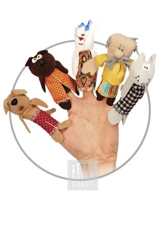 Фото Пальчиковые куклы Комплект № 2 ( 5 штук : собака , медведь , кошка , дед , волк ) рисунок Развивающие куклы для девочек и мальчиков для домашнего театра: пальчиковые куклы для самых маленьких, марионетки, платковые куклы и др.
