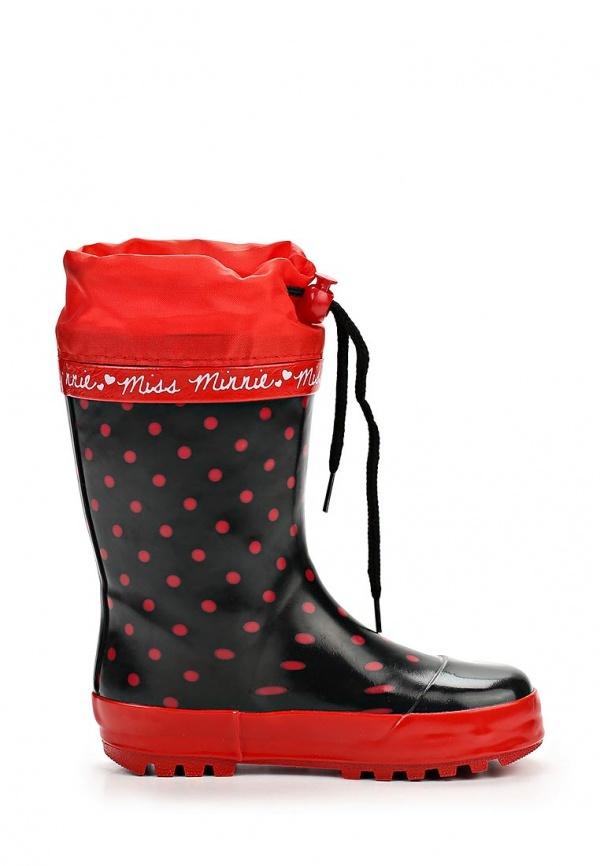 Резиновые сапоги Минни Маус (Minnie Mouse) на шнурках для девочек, цвет черный красный