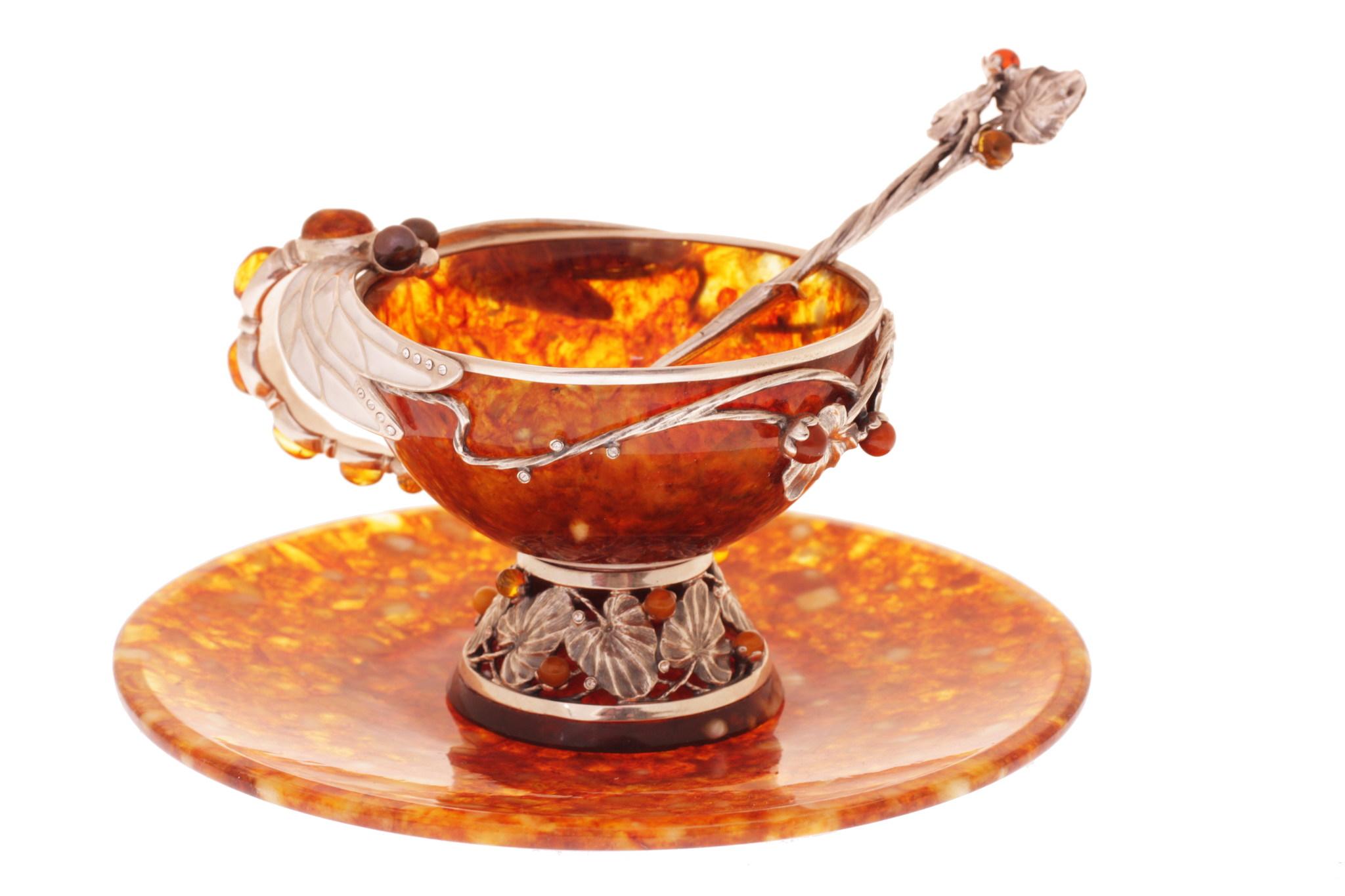 """Янтарный чайный набор из 3 предметов, серия """"Летнее настроение"""" от 25 520 руб"""