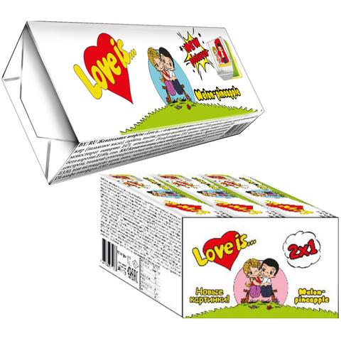 LOVE IS жевательные конфеты со вкусом Дыня-ананас 18*12*25г