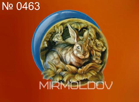 Силиконовый молд   Заяц   (медальон)  № 0463