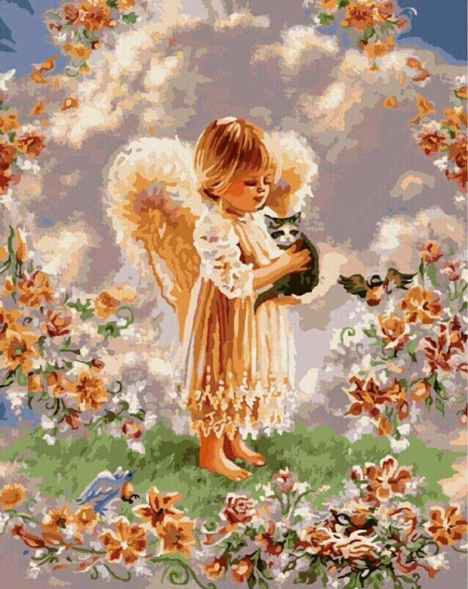 Картина раскраска по номерам 30x40 Ангелок с котенком на ...