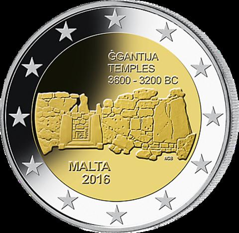 2 евро 2016 Мальта - храмы Джгантия