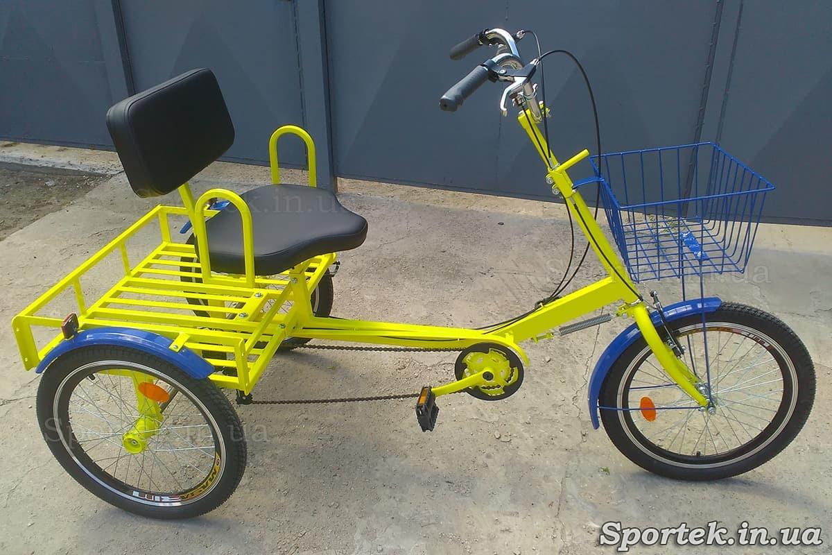 Трехколесный велосипед для людей весом 110-190 кг 'Атлет малый' (желтый)
