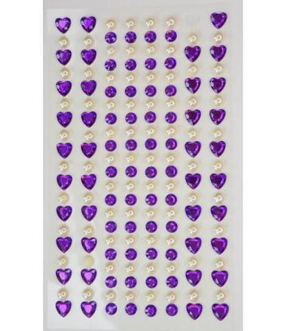 Стразы самоклеющиеся сердечки+жемчуг фиолетовые 152 шт