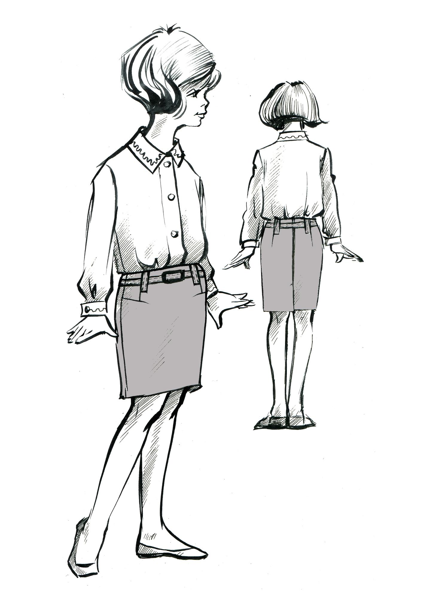 Выкройка школьной прямой юбки