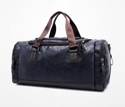 Мужская вместительная сумка из синей кожи
