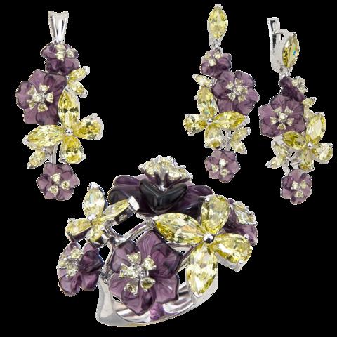 Комплект украшений с цветами из фиолетового кварца и фианитами № 129