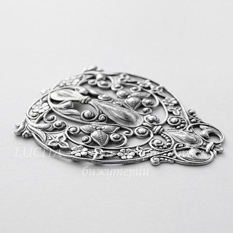 """Винтажный декоративный элемент - филигрань """"Летний сад"""" 73х55 мм (оксид серебра)"""