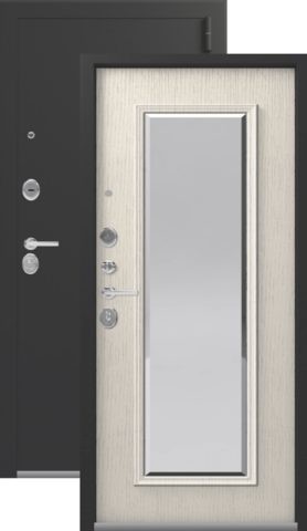 Тёплая дверь входная Легион L-1 NEW, 2 замка, 1,5 мм  металл, (чёрный муар+патина крем)