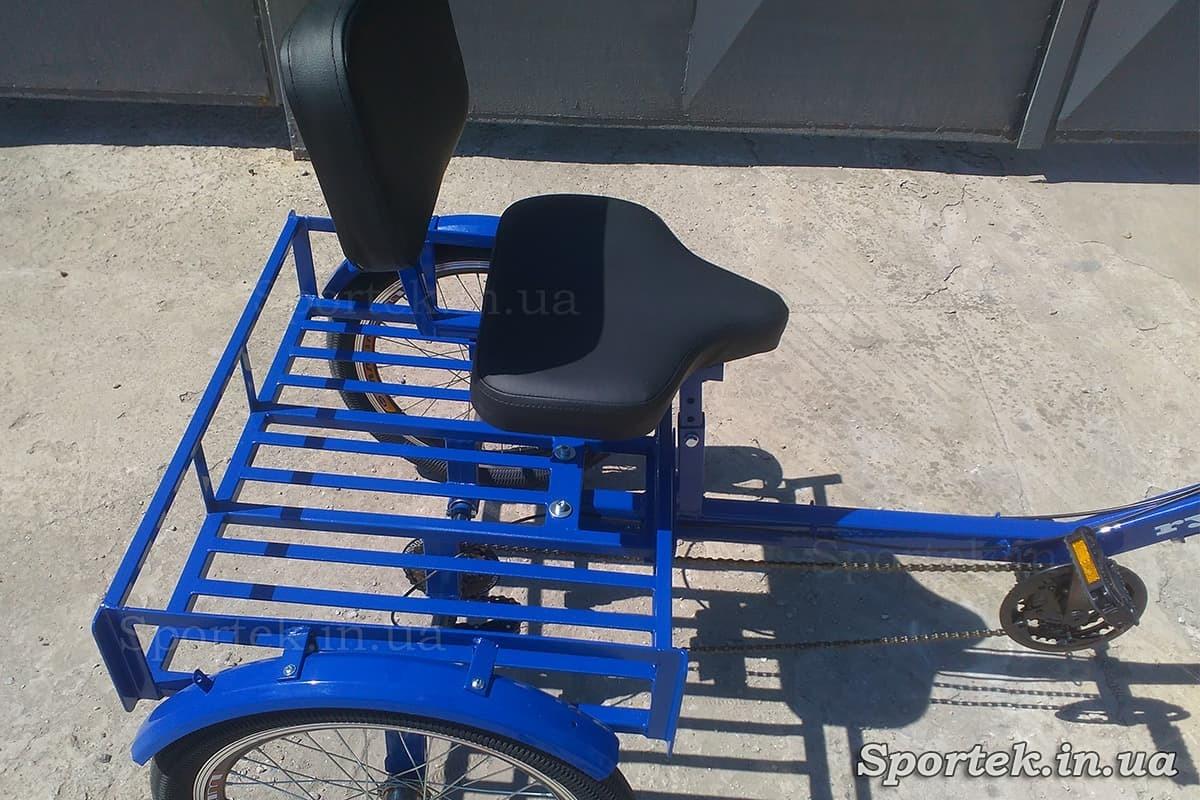 Сидение и грузовая платформа на трехколесных велосипедах 'Атлет' (синий)