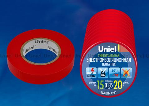 UIT-135P 20/15/10 RED Изоляционная лента Uniel 20м, 15мм, 0,135мм, 10шт, цвет Красный
