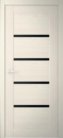 Дверь Фрегат Токио-2, триплекс чёрное, цвет беленый дуб, остекленная