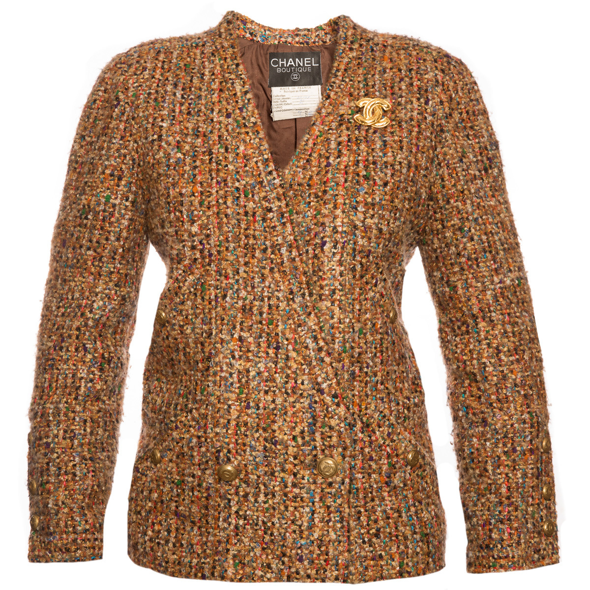 Стильный рыже-коричневый твидовый пиджак от Chanel, 40 размер