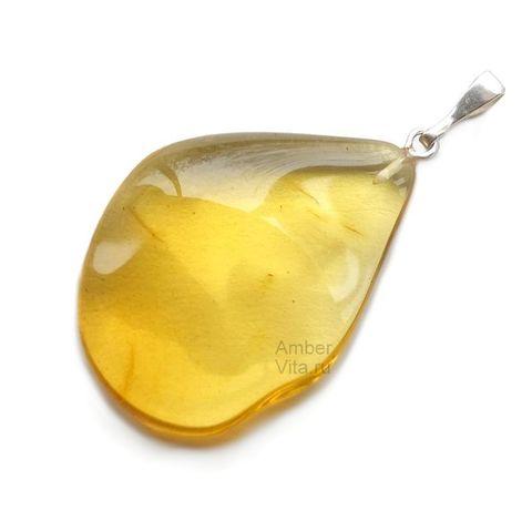 кулон природной формы из прозрачного янтаря