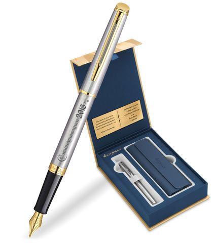 Набор с гравировкой: Чехол и Перьевая ручка Waterman  Hemisphere Essential, St. Steel GT