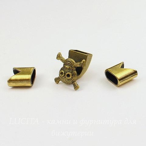 "Замок для шнура 5 мм из 3х частей ""Череп"" 19х18х15 мм, 13х13 мм (цвет - античная бронза)"