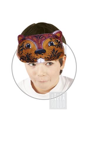 Фото Головной убор - маска Бобр / Грызун с Хохломской росписью рисунок Маски для детского сада: для театрализованных и подвижных игр. Эти уникальные  маски ободки станут незаменимым, а подчас - и единственным элементом костюма!