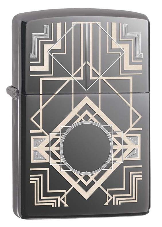 Зажигалка ZIPPO 150 Deco, латунь/сталь с покрытием Black Ice®, чёрная, глянцевая, 36x12x56 мм