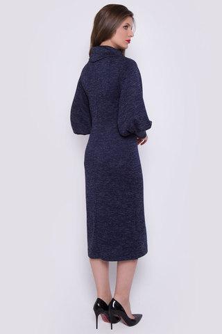 """Это платье создано для эффектных и уверенных в себе женщин. Мягкая структура ткани отлично сочетается с выбранным фасоном. Прямой силуэт и пышные рукава на высоком манжете удачно подчеркнут Вашу безупречную фигуру. Ворот """"хомут"""", по бокам разрезы. (Пояс в стоимость не входит) Длина платья 115 см"""