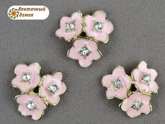 Металлический декор Розовые тройные цветы со стразой