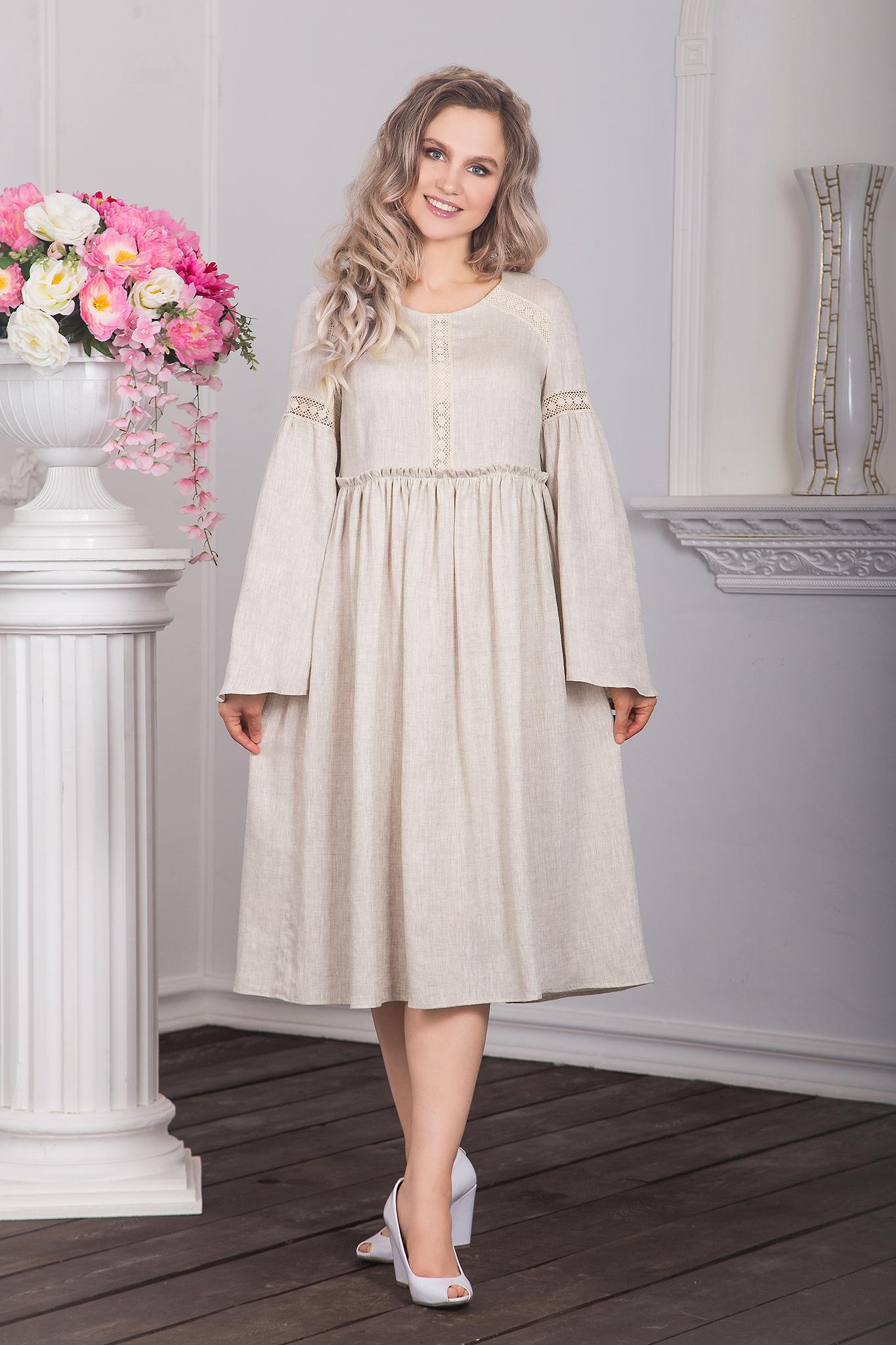 русское платье из льна Капитанская дочка