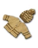 Вязаный жакет и шапочка с помпоном - Бежевый. Одежда для кукол, пупсов и мягких игрушек.
