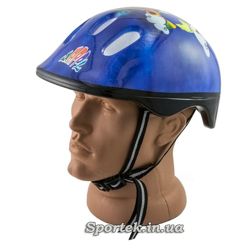 Детский велосипедный шлем (синий с самолетиком)