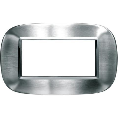 Рамка 1 пост, овальной формы. СТАЛЬ. Цвет Фактурная сталь Alessi. Итальянский стандарт, 4 модуля. Bticino AXOLUTE. HB4804AXS
