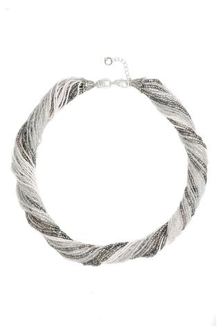 Бисерное ожерелье из 36 нитей цвет серебристо-белый
