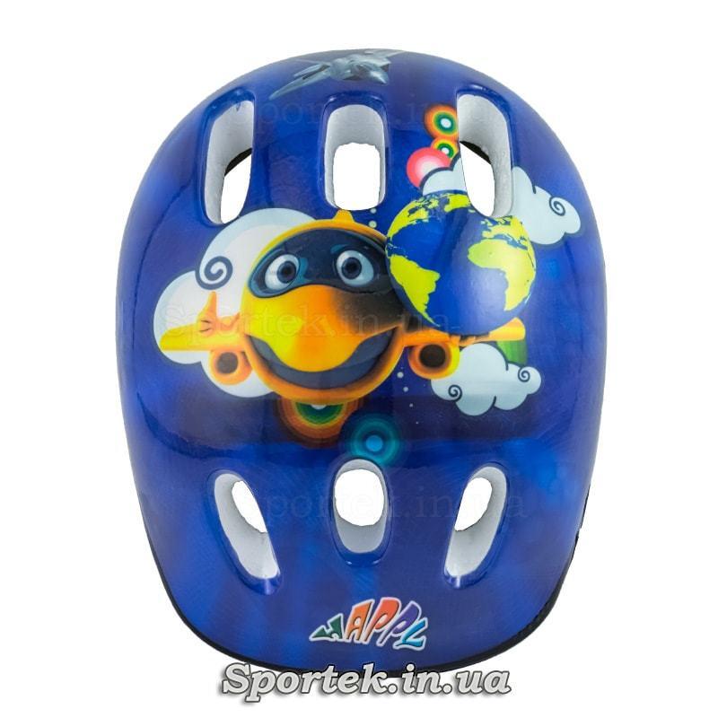 Вид сверху на детский велосипедный шлем (синий с самолетиком)