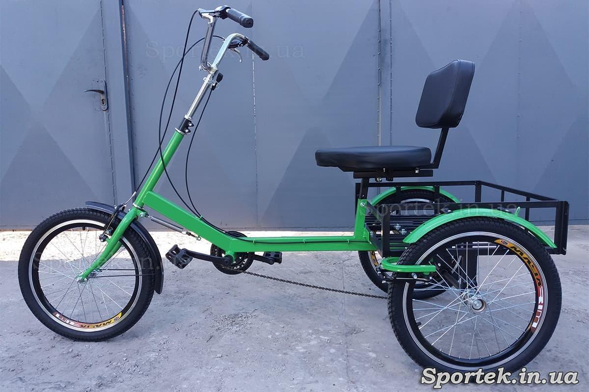 Трехколесный грузовой велосипед для тяжеловесов,пенсионеров, инвалидов, 'Атлет малый' (зеленый)